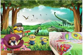 Custom Photo Room Wallpaper Non Woven Mural Picture Dinosaur Minions Forest Decoration Painting Wall Murals