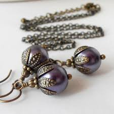 Purple Bridesmaid Jewelry Sets Rustic Wedding Pearl Necklace And Earrings Gifts Antiqued