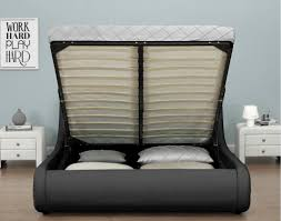 Super King Size Ottoman Bed by New Exclusive Rio Led Black Designer Curved Ottoman Gas Lift