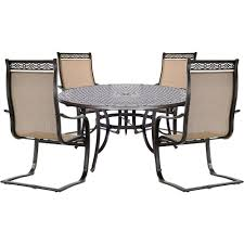 Hanover Manor 5-Piece Outdoor Dining Set With 4 Sling Spring Chairs ... Buy Outdoor Patio Fniture New Alinum Gray Frosted Glass 7piece Sunshine Lounge Dot Limited Scarsdale Sling Ding Chair Sl120 Darlee Monterey Swivel Rocker Wicker Sets Rattan Chairs Belle Escape Livingroom Hampton Bay Beville Piece Padded Agio Majorca With Inserted Woven Shop Havenside Home Plymouth 4piece Inoutdoor Nebraska Mart Replacement Material Chaircarepatio Slings