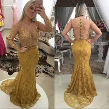 2017 arabic gold long sleeves mermaid evening dresses lace