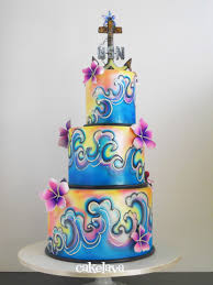 Ocean And Hawaiian Themed Wedding Cake Made By Rick Reichart For A Couple In The Navy