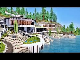 maison de luxe minecraft énorme villa moderne de luxe sur falaise entre mer et forêt sur