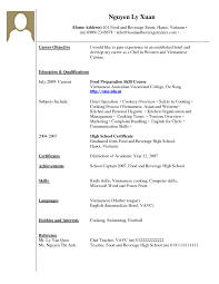 Resume Examples For College Students With Work Experience Restaurant Food
