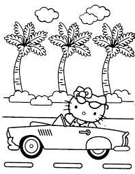 Hello Kitty Driving A Car Coloring Pages