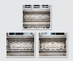 Bathroom Art Set Decor Rustic Of 3 Prints Or Canvas London Signs For