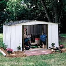 Rubbermaid Slide Lid Shed Manual by Arrow Sr68109 10 U0027 X 9 U0027 Gable Steel Storage Shed White Shop