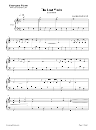 The Last Waltz Stave Preview 1 Free Piano Sheet Music & Piano Chords