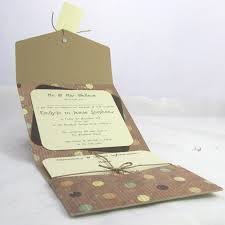 Best Polka Dotty Pocketfold Wedding Invitation Brown Lace