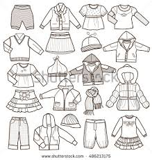 Set Of Fashion Childrens Clothes Isolated On White Background Vector Illustration Coloring Book