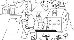 Christmas Village Coloring Sheets Page