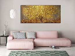 orlco wanddekoration handbemalt landschafts blumen wandkunst abstraktes palettenmesser goldfarbener baum mit blüten ölgemälde auf leinwand