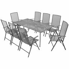 9 Piece Outdoor Dining Set With Folding Chairs Steel Anthracite | In  Victoria, London | Gumtree