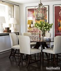Dining Room Table Centerpiece Luxury White Armchairs Square Wall Mirrors Using Gray Tablecloth Wood Glass
