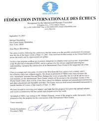 Letter of Kirsan Ilyumzhinov to Michael Bloomberg