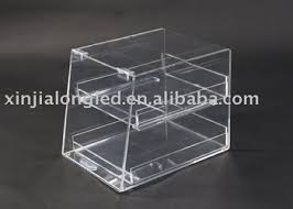 Clear Acrylic Countertop Bakery Display Case Cases 2 Tier Perspex Bread Stand