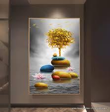 goldene baum landschaft wand bild wohnzimmer dekoration