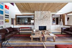 Architecture Rustic Modern Living Room Design With Brown Leather Sofa Vintage Table Colorful Carpet Tiles