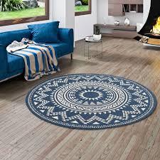 modern flachgewebe ruggy mandala blau rund