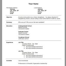 Cv Template Word Pdf High School Student Resume Format Doc In With Regard To