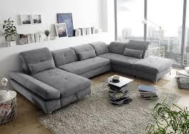 funktionale melfi sofa schlafcouch bettsofa schlafsofa sofabett wohnlandschaft ausziehbar dunkel grau ottomane rechts u form