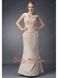 Wonderful Champagne Column V Neck Mother Of The Bride Dress Satin Lace And Beading Floor