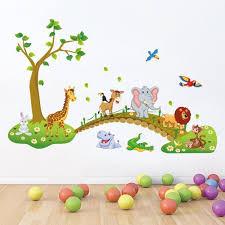 sticker chambre bébé simpvale grande jungle animaux pont vinyle stickers muraux enfants