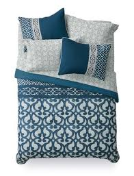 Mainstays Bed in a Bag Blue Scroll Bedding Set