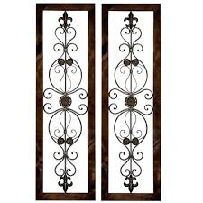 Tuscan Wrought Iron Wall Art Metal Grille Plaque Set With Arched