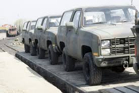 100 Trucks Are Us M1009 Tactical Utility Trucks Are Loaded On To Railroad Flatcars For