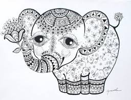 Elephant Calf Abstract Doodle Zentangle ZenDoodle Paisley Coloring Pages