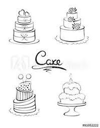 Set of design elements cakes