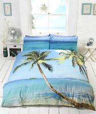 graphic Palm Tree Beach Ocean Scene King Size Duvet Cover Bed