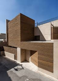 100 Travertine Facade BaghJanat Residential Architecture With Timber And