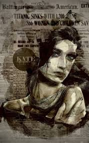 Black And White Tonal Portrait Painted Onto Old Newspaper You Could Use A Book Page