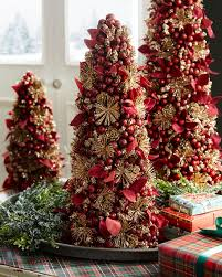 Salzburg Creations Burgundy And Rose Gold Fireworks Tabletop Christmas Tree