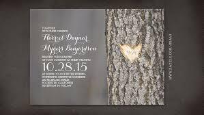 Tree Initials Heart Rustic Wedding Invitations