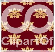 Clipart Of A Seamless Pattern Background Beige Flowers On Maroon