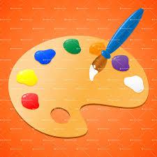 Paint Palette Vector Illustration Of A Painters Wooden