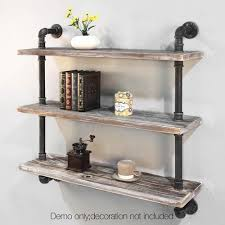 3 Level Rustic Bookshelf Industrial Pipe And Wood Shelf Vintage Look Wall Storage