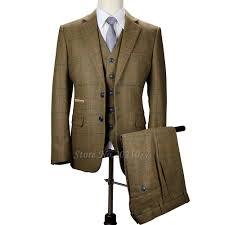 2017 Vintage Prom Mens Suit 3 Piece Wool Tweed Herringbone Checkered Wedding Suits For Men Slim