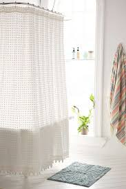 plum bow pompom dot shower curtain urban outfitters
