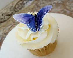 Make Beautiful Butterfly Cupcakes For Spring Edible Butterflies Purple Blue Double Sided Wafer Paper Toppers Cakes Or Cookies By