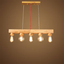 70 15cm 5 heads vintage wood pendant light e27 edison bulbs