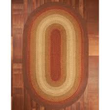 Homespice Decor Cotton Braided Rugs by Oval Rugs Monica Area Rug Deep Gold Brownish Print Tan Edging