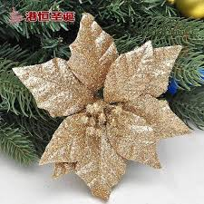 5pieces Lot Gold Glitter Poinsettia Christmas Tree Ornament Decorations Powder Sticked Flock Flowers 15cm In From Home