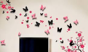 Butterflies Wall Decorations Black Butterfly Decals Interior Design Ideas Set