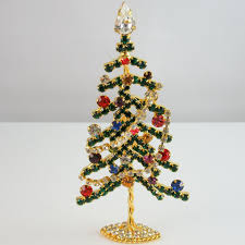 Big Christmas Ornaments Cute Tree Pin Brooch Crystal Movable Garland Stand Up