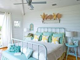 Rustic Bedroom With Soft Blue Accentuated Furniture Such Bed Bunk And Night Stand Next To The White Curtained Window For Beach Theme