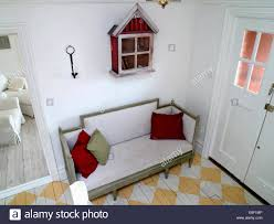 Birdseye View Of Swedish Style Sofa Below Small Rustic Cupboard On Picture With Marvelous Narrow Hall Storage White Cabinet Cabinets Bench Shoe Rack Ha